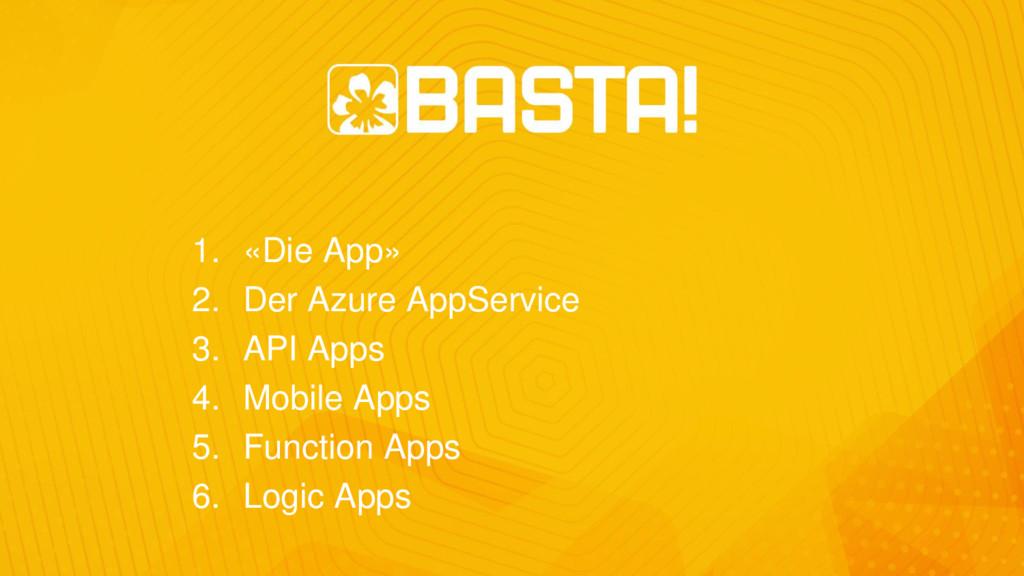 1. «Die App» 2. Der Azure AppService 3. API App...