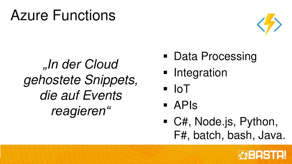 "Azure Functions ""In der Cloud gehostete Snippet..."