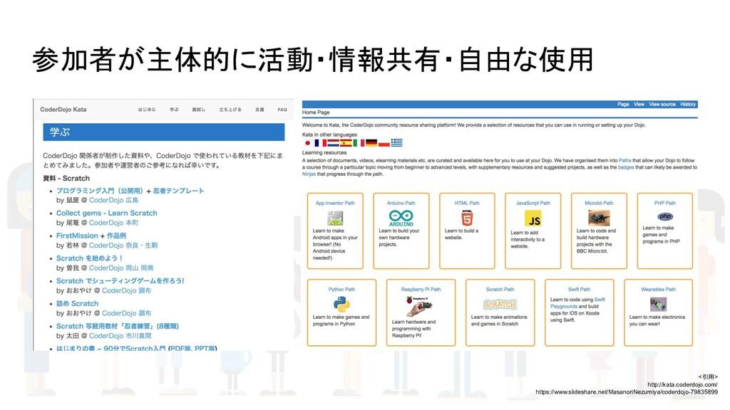 参加者が主体的に活動・情報共有・自由な使用 <引用> http://kata.coderdoj...