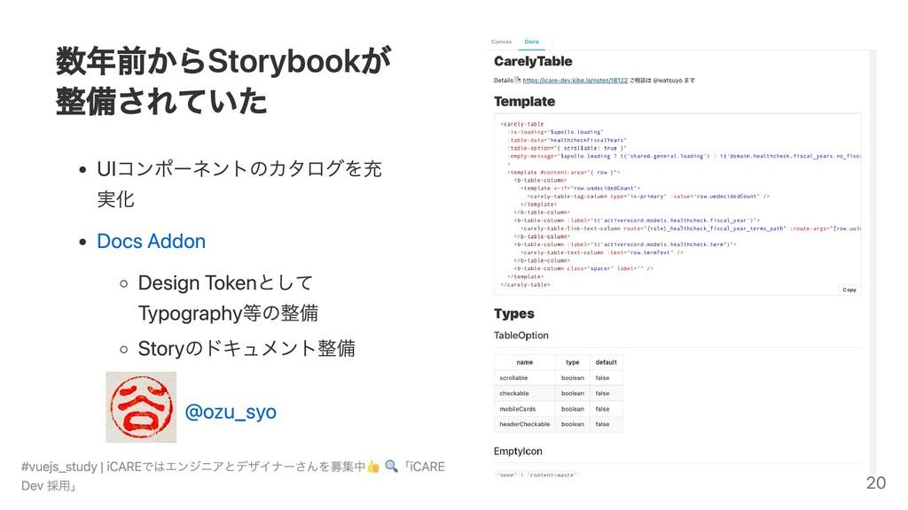 数年前からStorybookが 整備されていた UIコンポーネントのカタログを充 実化 Doc...