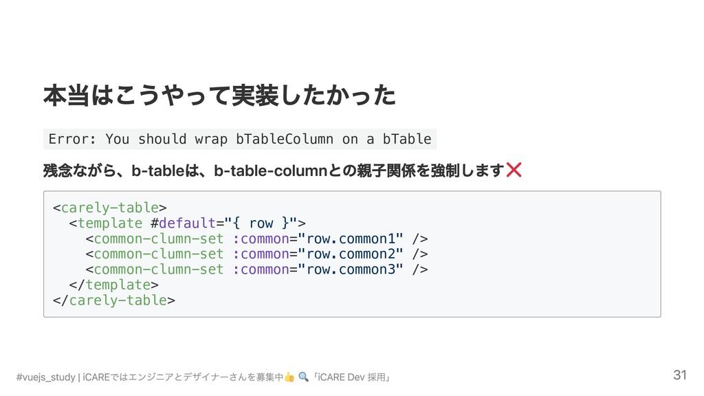 本当はこうやって実装したかった Error: You should wrap bTableCo...