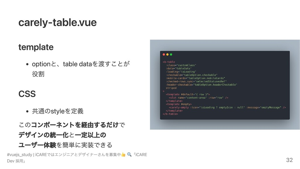 carely-table.vue template optionと、table dataを渡す...