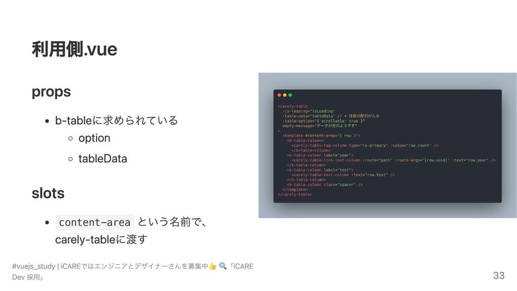 利用側.vue props b-tableに求められている option tableData ...