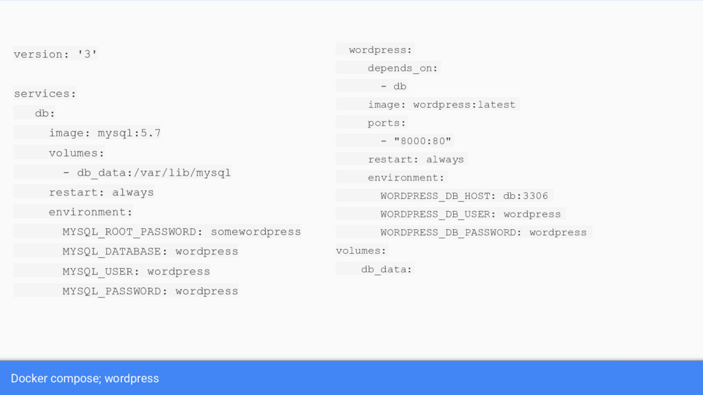 Docker compose; wordpress version: '3' services...