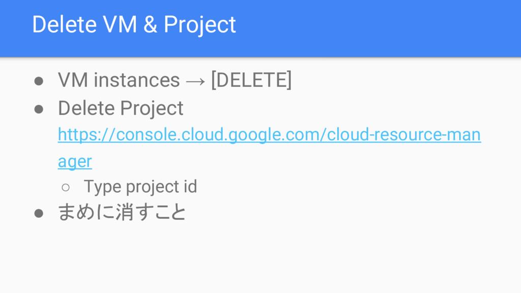 Delete VM & Project ● VM instances → [DELETE] ●...