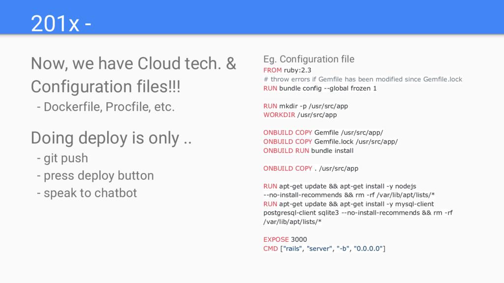 201x - Now, we have Cloud tech. & Configuration...