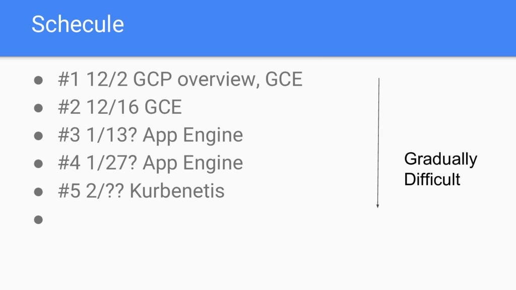 Schecule ● #1 12/2 GCP overview, GCE ● #2 12/16...
