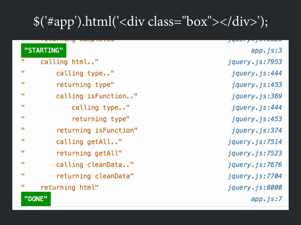 """$('#app').html('<div class=""""box""""></div>');"""