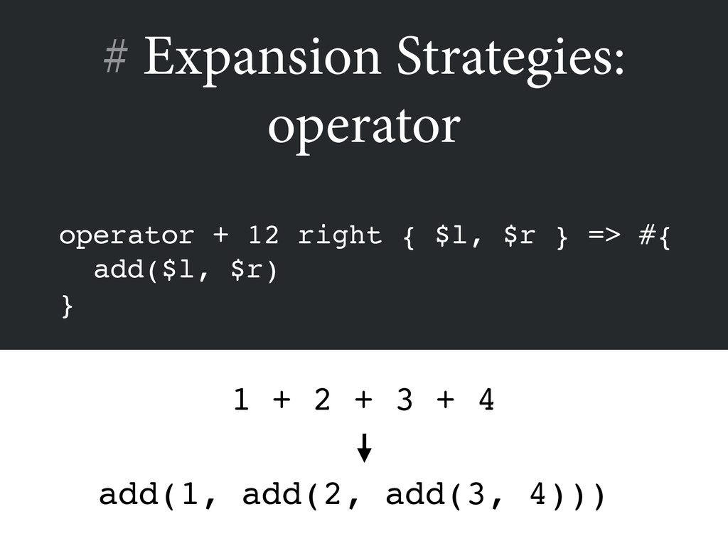 # Expansion Strategies: operator operator + 12 ...