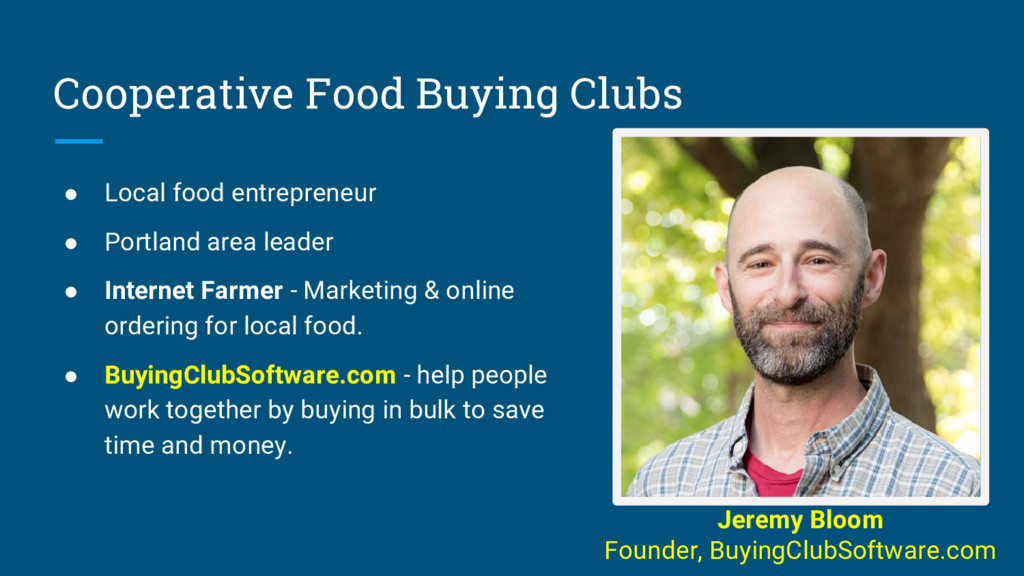 Cooperative Food Buying Clubs ● Local food entr...