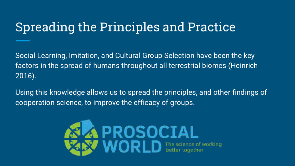 Spreading the Principles and Practice Social Le...