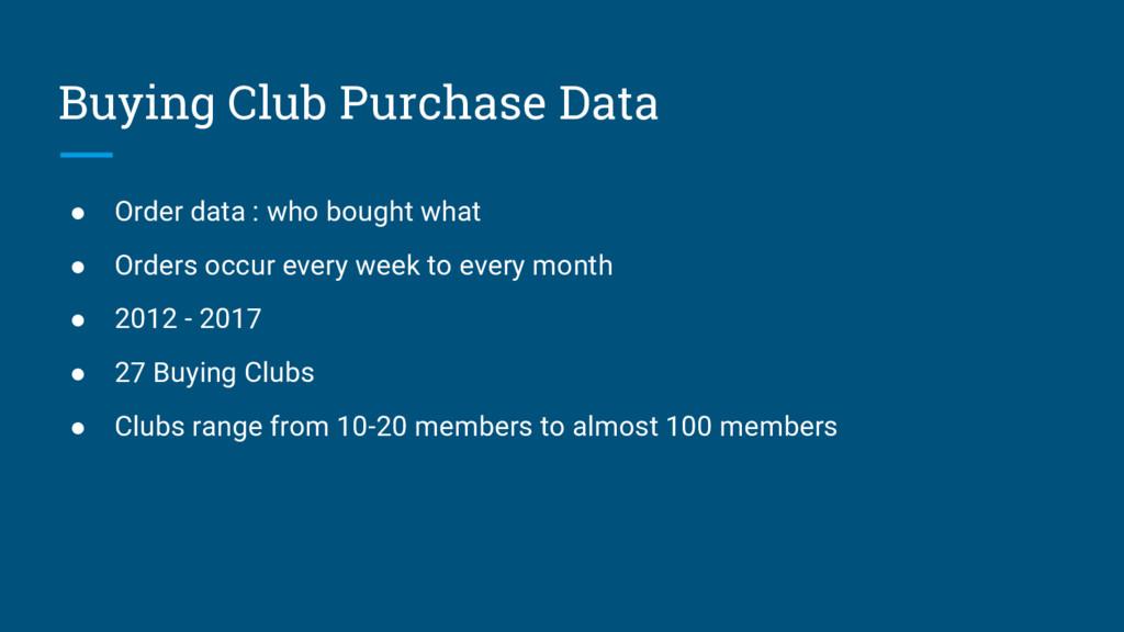 Buying Club Purchase Data ● Order data : who bo...