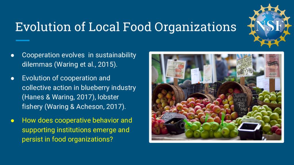Evolution of Local Food Organizations ● Coopera...