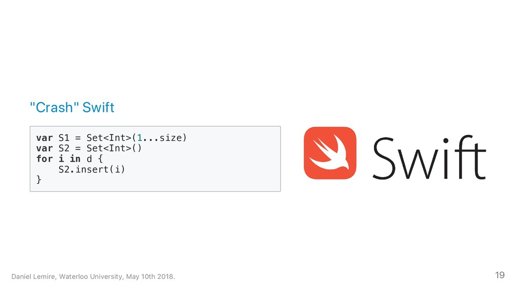 """""""Crash"""" Swift v a r S 1 = S e t < I n t > ( 1 ...."""