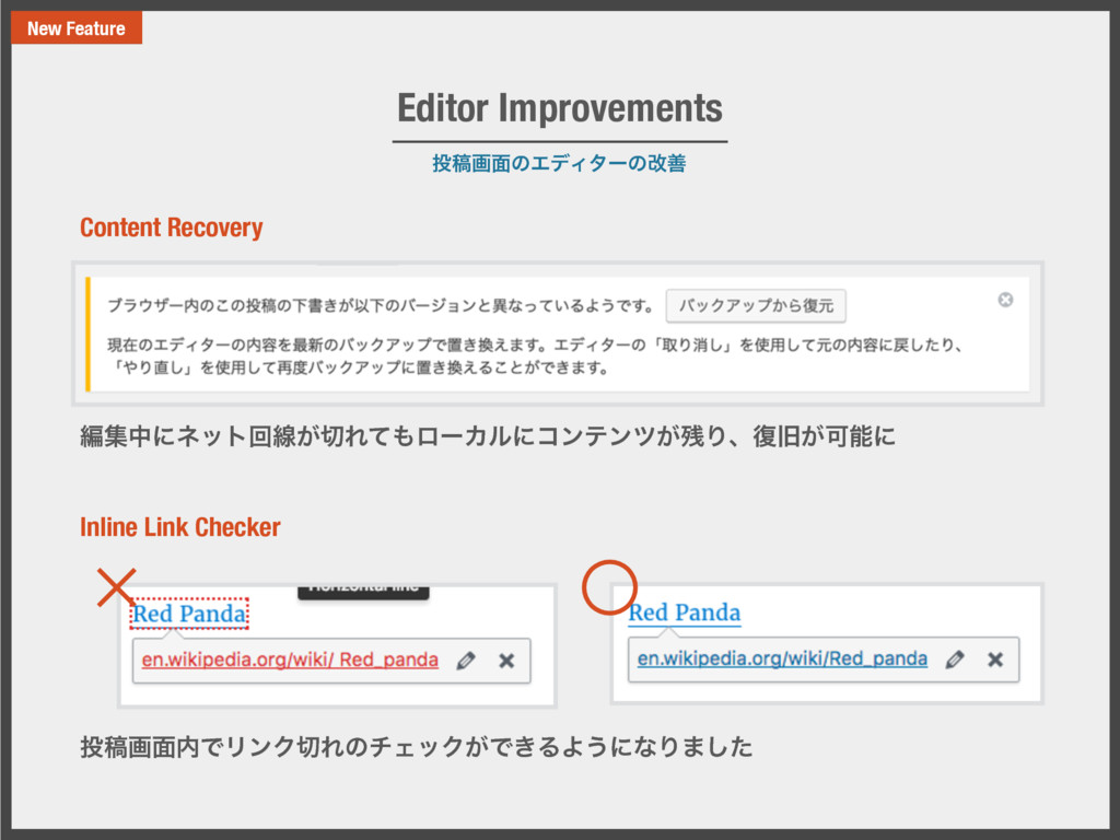 ౤ߘը໘ͷΤσΟλʔͷվળ Editor Improvements New Feature ฤ...