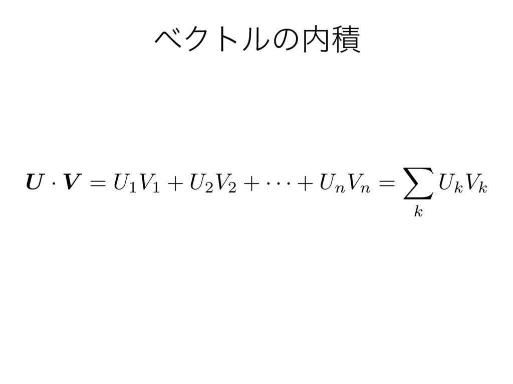 ϕΫτϧͷੵ U · V = U1V1 + U2V2 + · · · + UnVn = X ...