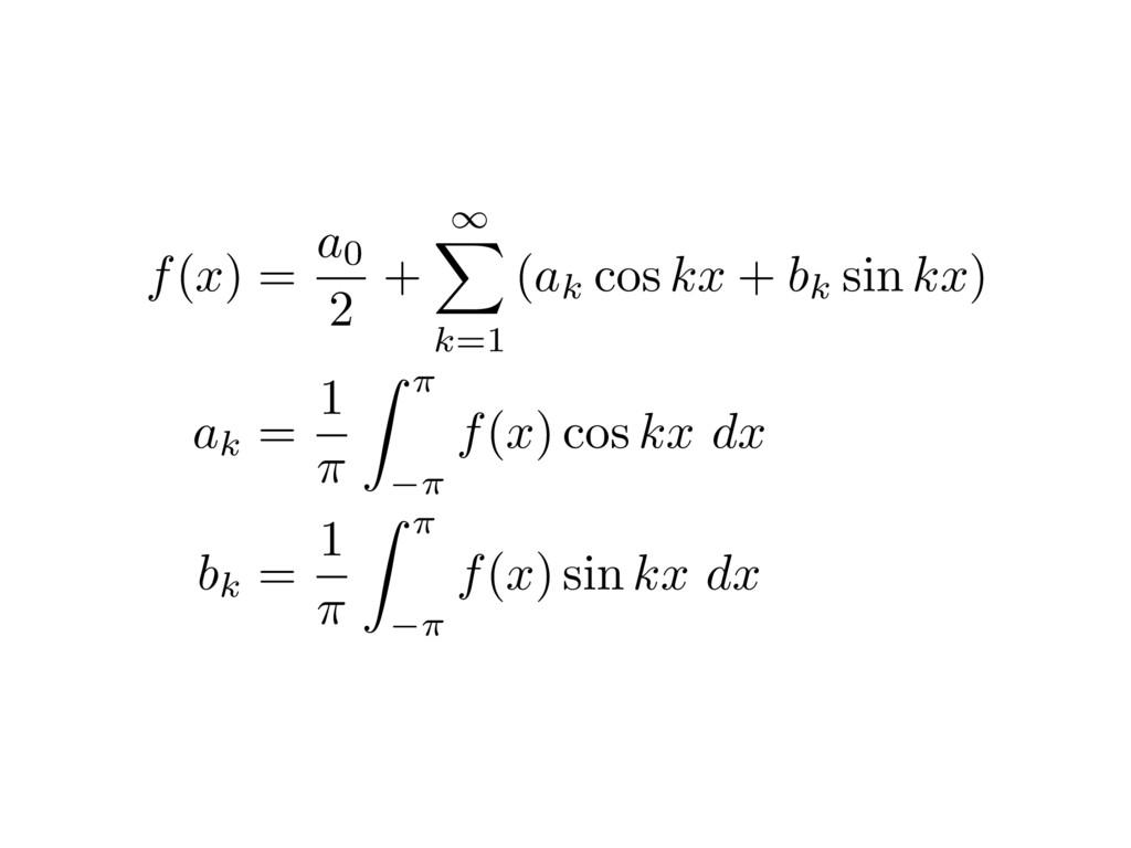 f(x) = a0 2 + 1 X k=1 (ak cos kx + bk sin kx) a...