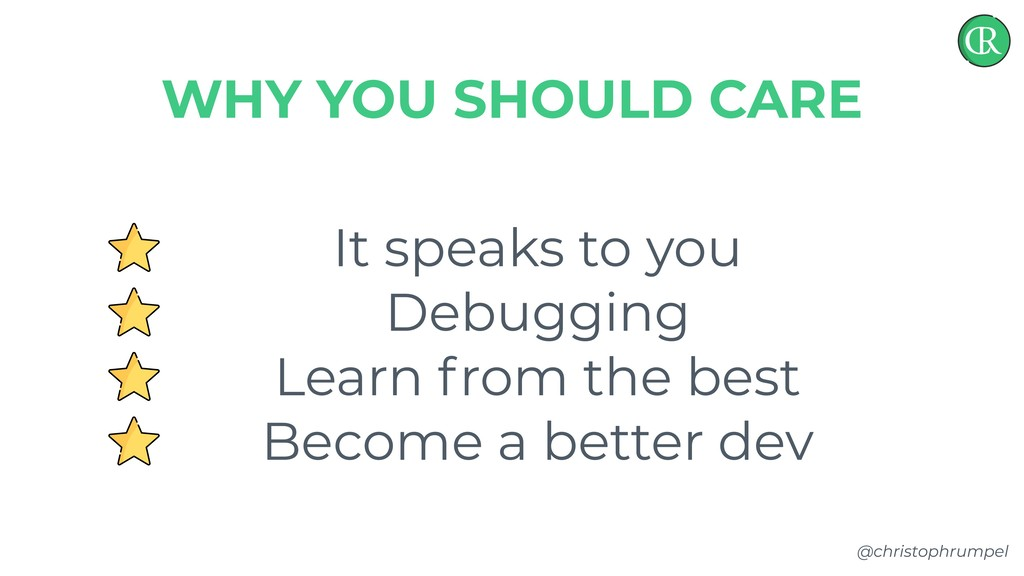 @christophrumpel It speaks to you Debugging Lea...