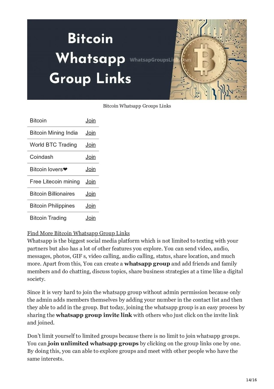 14/16 Bitcoin Whatsapp Groups Links Bitcoin Joi...