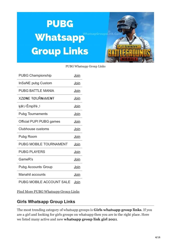 4/16 PUBG Whatsapp Group Links PUBG Championshi...