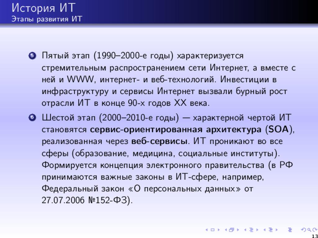 История ИТ Этапы развития ИТ 5 Пятый этап (1990...