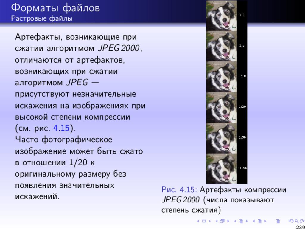 Форматы файлов Растровые файлы Артефакты, возни...