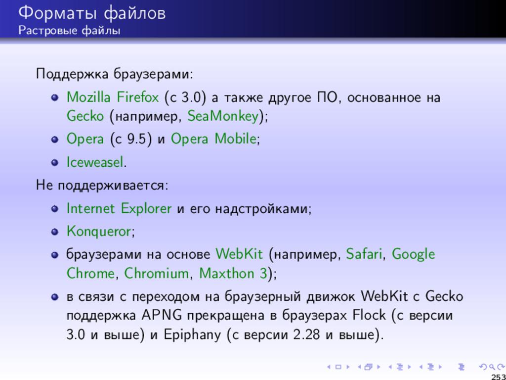 Форматы файлов Растровые файлы Поддержка браузе...