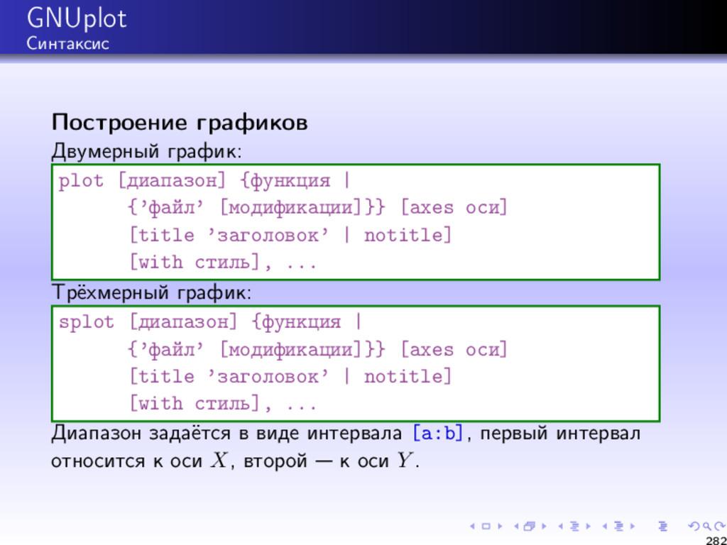 GNUplot Синтаксис Построение графиков Двумерный...