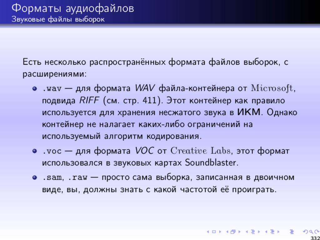 Форматы аудиофайлов Звуковые файлы выборок Есть...
