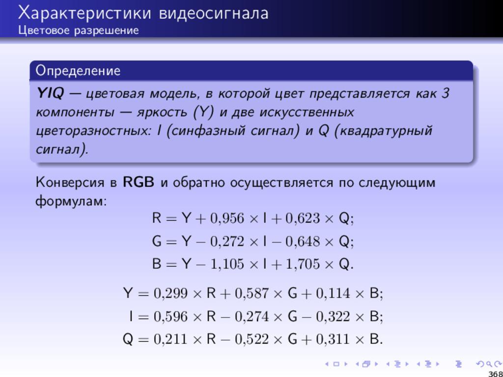 Характеристики видеосигнала Цветовое разрешение...
