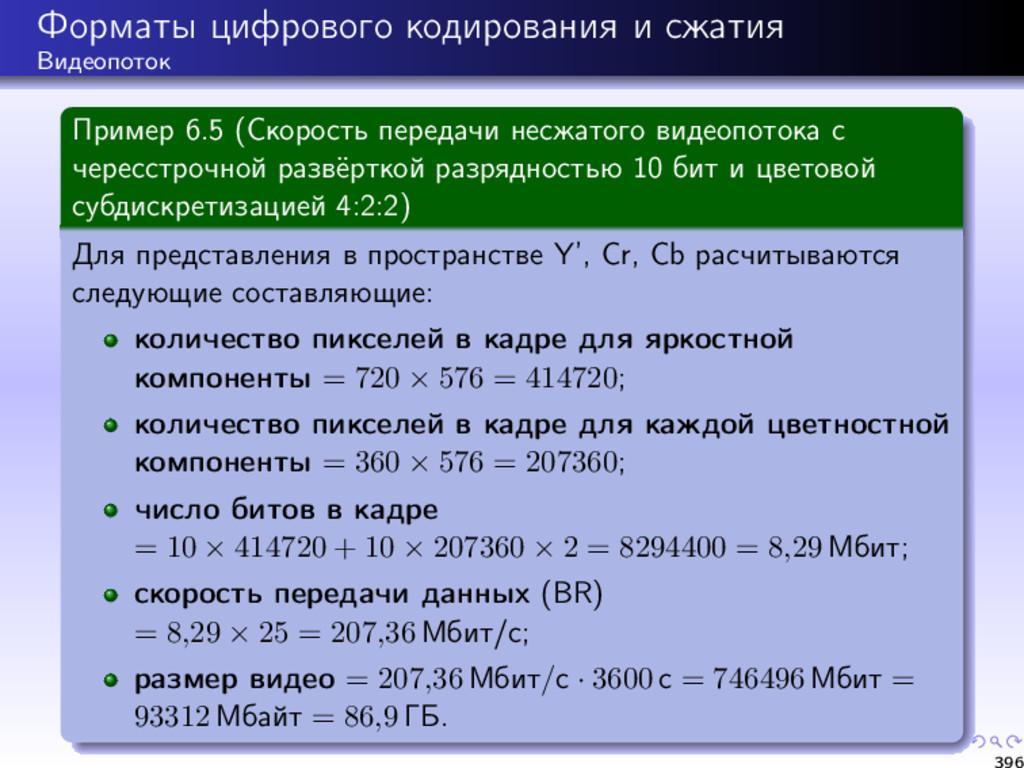 Форматы цифрового кодирования и сжатия Видеопот...