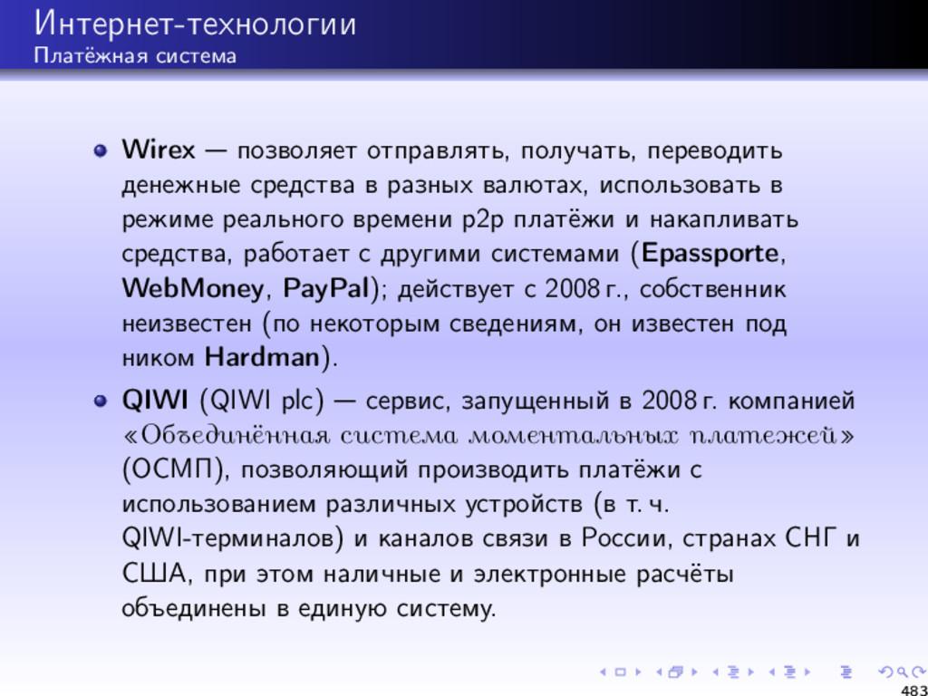 Интернет-технологии Платёжная система Wirex поз...