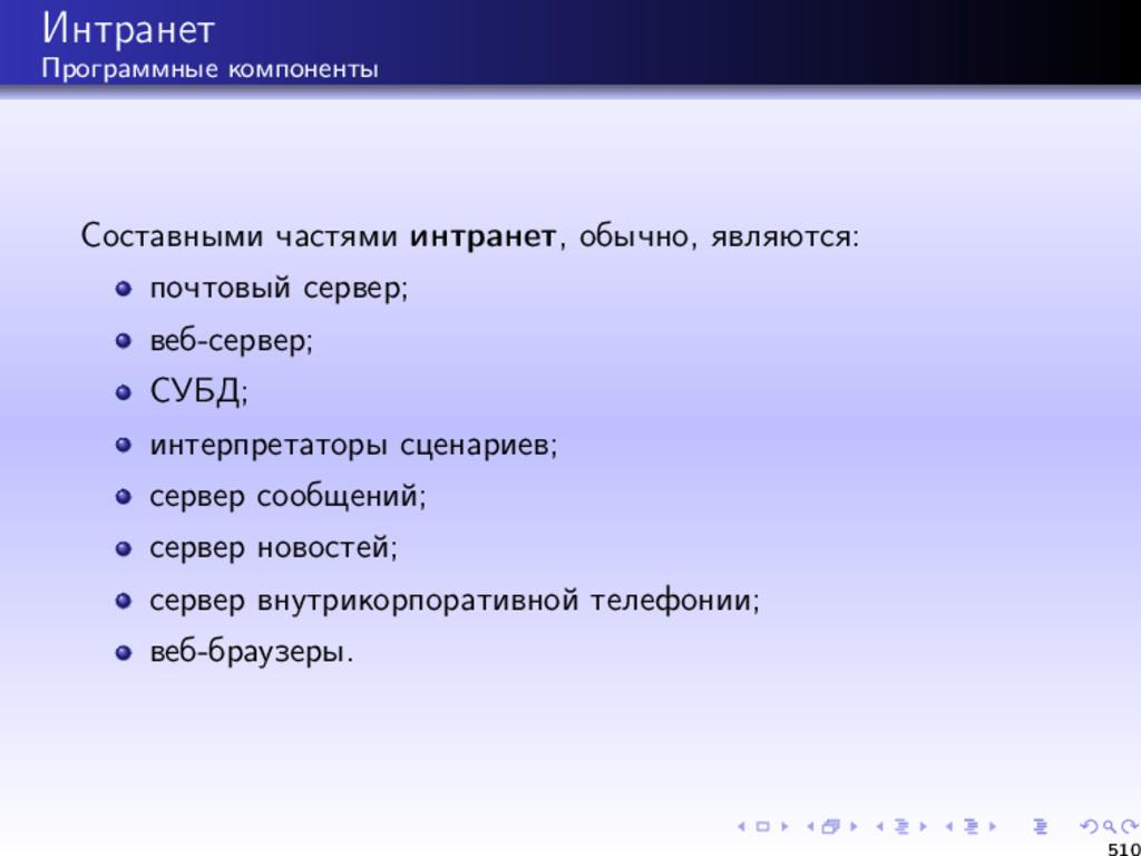 Интранет Программные компоненты Составными част...
