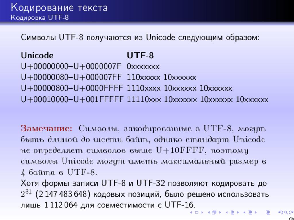 Кодирование текста Кодировка UTF-8 Символы UTF-...