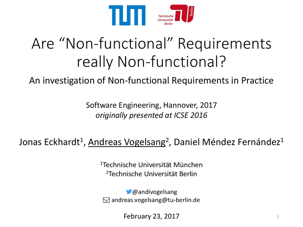 """Are """"Non-functional"""" Requirements really Non-fu..."""