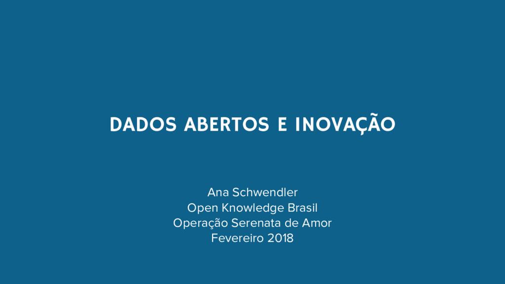DADOS ABERTOS E INOVAÇÃO Ana Schwendler Open Kn...