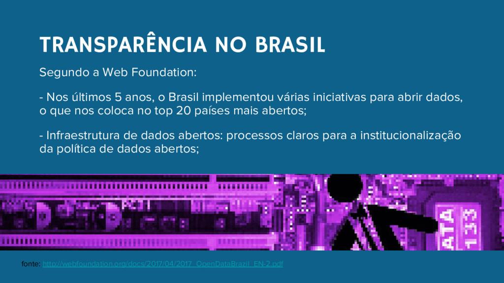 TRANSPARÊNCIA NO BRASIL Segundo a Web Foundatio...