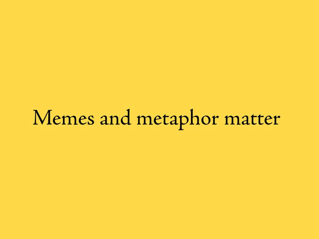 Memes and metaphor matter