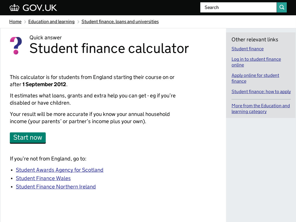 Home Education and learning Student finance, lo...