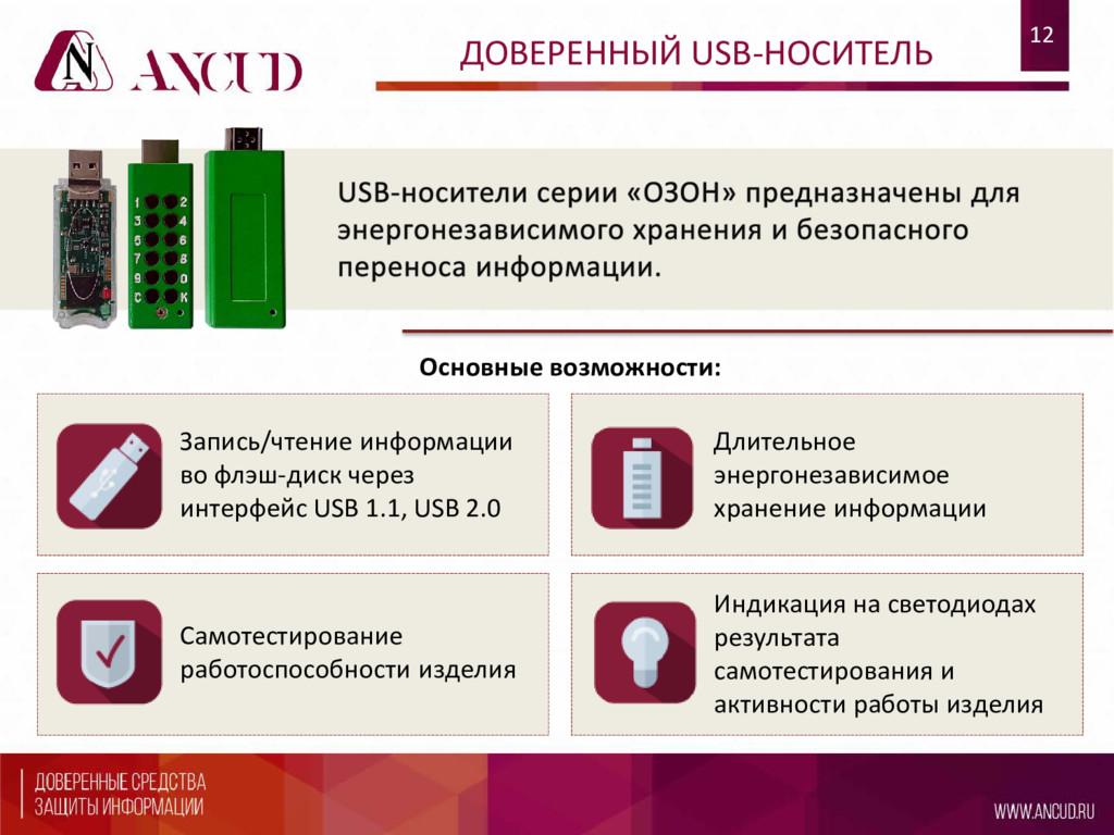 12 ДОВЕРЕННЫЙ USB-НОСИТЕЛЬ Запись/чтение информ...
