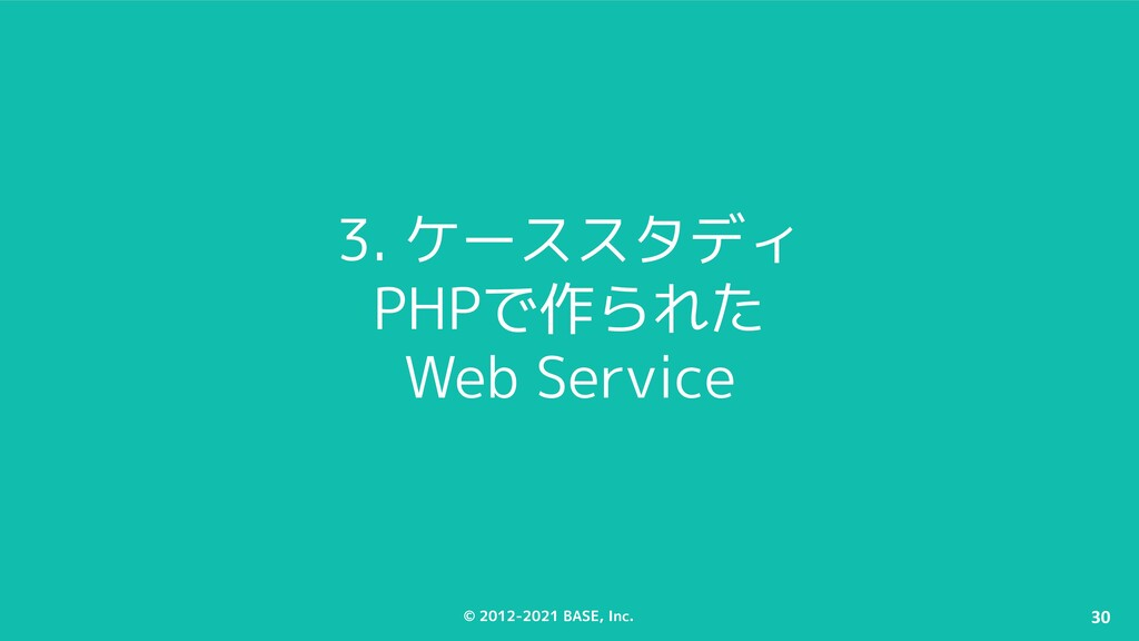 © 2012-2021 BASE, Inc. 30 3. ケーススタディ PHPで作られた W...