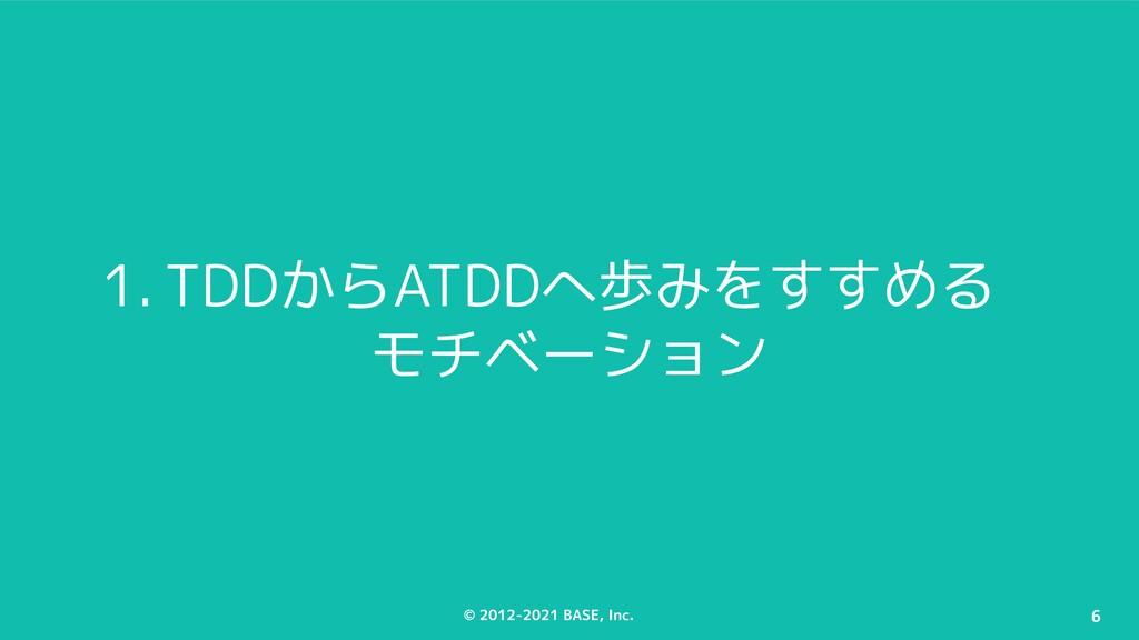 © 2012-2021 BASE, Inc. 6 1. TDDからATDDへ歩みをすすめる モ...