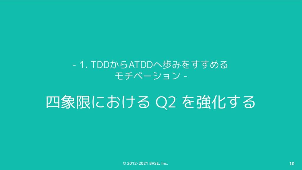 © 2012-2021 BASE, Inc. 10 - 1. TDDからATDDへ歩みをすすめ...