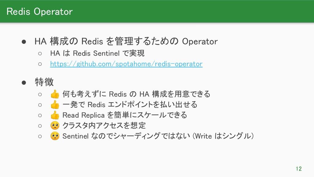 Redis Operator 12 ● HA 構成の Redis を管理するための Ope...