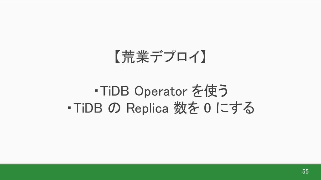 55 【荒業デプロイ】  ・TiDB Operator を使う ・TiDB の Rep...