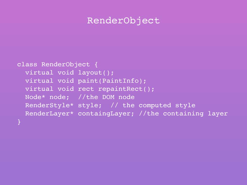 RenderObject class RenderObject { virtual void ...