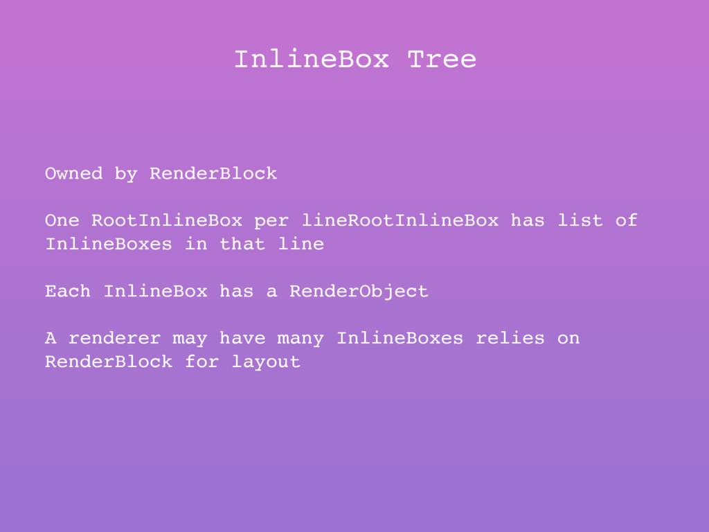 InlineBox Tree Owned by RenderBlock One RootInl...