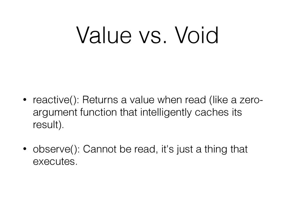 Value vs. Void • reactive(): Returns a value wh...