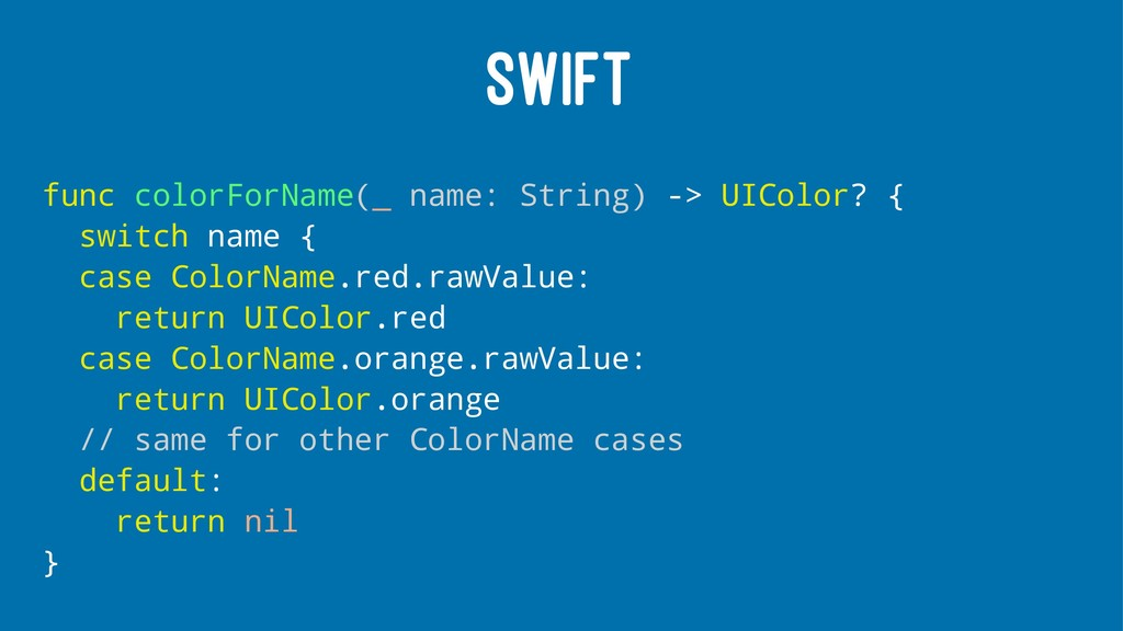 SWIFT func colorForName(_ name: String) -> UICo...