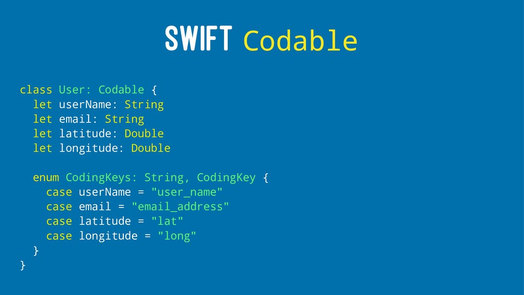 SWIFT Codable class User: Codable { let userNam...